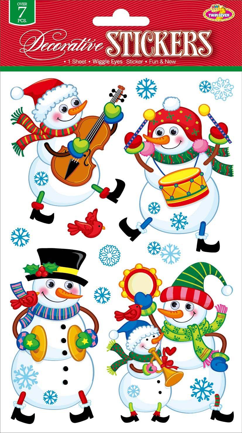 Наклейки для интерьера Room Decoration Забавные снеговичкиCLX3408Наклейки для стен и предметов интерьера Room Decoration Забавные снеговички, изготовленные из самоклеящейся виниловой пленки, помогут украсить дом к предстоящим праздникам. Изделия выполнены в виде снеговиков с объемными глазами, снежинок. Наклейки дадут вам вдохновение, которое изменит вашу жизнь и поможет погрузиться в мир ярких красок, фантазий и творчества. Для вас открываются безграничные возможности придумать оригинальный дизайн и придать новый вид стенам и мебели. Наклейки абсолютно безопасны для здоровья. Они быстро и легко наклеиваются на любые ровные поверхности: стены, окна, двери, стекла, мебель. При необходимости удобно снимаются, не оставляют следов. Наклейки Room Decoration Забавные снеговички помогут вам изменить интерьер вокруг себя: в детской комнате и гостиной, на кухне и в прихожей, витрину кафе и магазина, детский садик и офис. Размер листа: 14 см х 21 см. Количество наклеек на листе: 11 шт. Размер самой большой...