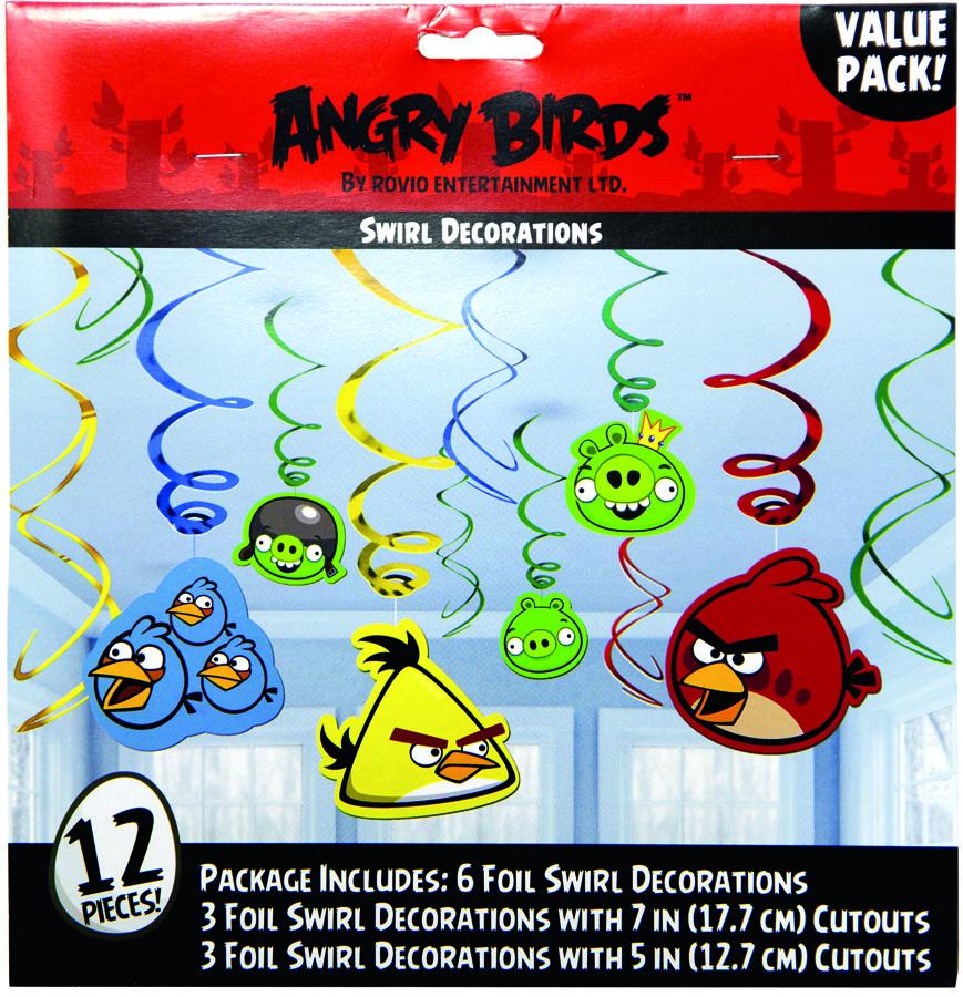 Amscan Спираль Angry Birds 12 шт1501-1883Приближается день рождения или другая знаменательная дата? Создать праздничную атмосферу в доме поможет украшение-спираль Angry Birds. Каждая спираль снабжена колечком для крепления к потолку или стене. В наборе 12 разноцветных украшений.
