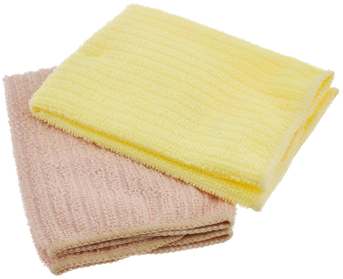 Салфетка из микрофибры Home Queen, цвет: желтый, бежевый, 30 х 30 см, 2 шт57048_желтый, бежевыйСалфетка Home Queen изготовлена из микрофибры. Это великолепная гипоаллергенная ткань, изготовленная из тончайших полимерных микроволокон. Салфетка из микрофибры может поглощать количество пыли и влаги, в 7 раз превышающее ее собственный вес. Многочисленные поры между микроволокнами, благодаря капиллярному эффекту, мгновенно впитывают воду, подобно губке. Благодаря мелким порам микроволокна, любые капельки, остающиеся на чистящей поверхности, очень быстро испаряются, и остается чистая дорожка без полос и разводов. В сухом виде при вытирании поверхности волокна микрофибры электризуются и притягивают к себе микробов, мельчайшие частицы пыли и грязи, удерживая их в своих микропорах.
