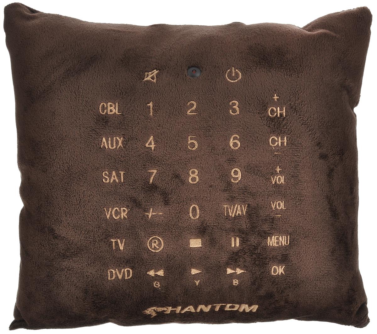 Пульт-подушка Phantom, цвет: коричневый, 33 см х 33 смPH6320_коричневыйПульт-подушка Phantom - это уникальный продукт. С первого взгляда это обычная подушка, но, присмотревшись, можно увидеть на ней различные кнопки, как у пульта. Пульт-подушка поддерживает более 500 различных моделей телевизоров, плееров, тюнеров, домашних кинотеатров и музыкальных центров. Возможность управления 6 устройствами одновременно. Отличный оригинальный подарок для друзей и близких. Работает от 2 батареек типа ААА.