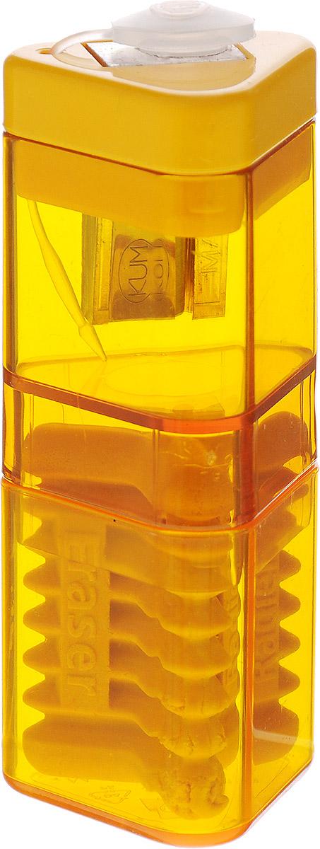 Kum Точилка с контейнером и ластиком Correc Tri Pop цвет желтый665-SBТочилка Kum Correc Tri Pop выполнена из пластика и металла с эргономичной трехгранной формой корпуса, наиболее удобной для руки.Лезвие точилки имеет высокую степень заточки, благодаря чему карандаш затачивается очень аккуратно и легко, оставляя тончайшую стружку. При затачивании грифель не ломается и не крошится. Специальная крышка не дает стружке выпадать, прозрачный контейнер позволяет вовремя производить очистку.Точилка снабжена ластиком для быстрого и чистого удаления надписей, сделанных чернографитным карандашом.