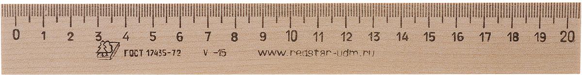 Красная звезда Линейка 20 смС05Ученическая линейка Красная звезда изготовлена из твердолиственных пород древесины и имеет износостойкую одностороннюю миллиметровую шкалу до 20 см. Цифры нанесены крупным шрифтом и не вызывают затруднений при чтении.