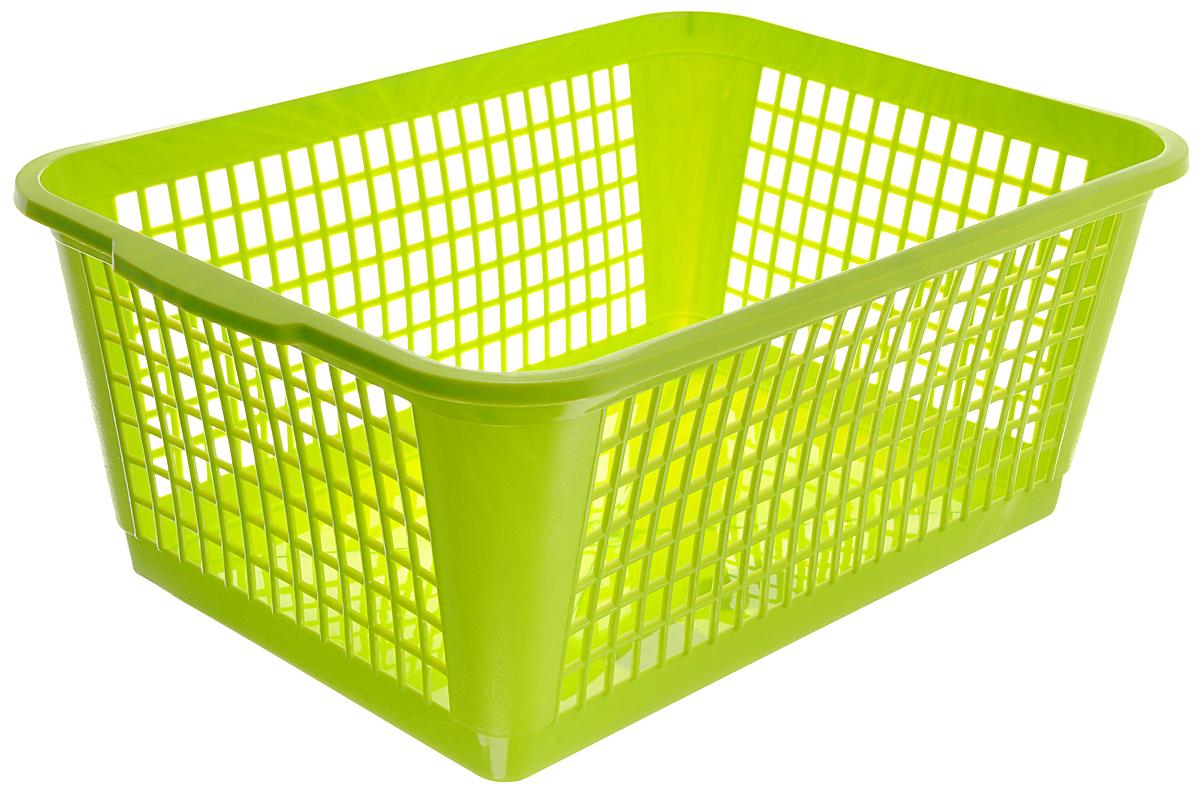 Корзина Gensini, цвет: салатовый, 26 л3308_салатовыйУниверсальная корзина Gensini, выполненная из полипропилена, предназначена для хранения мелочей в ванной, на кухне, даче или гараже. Позволяет хранить мелкие вещи, исключая возможность их потери. Боковые стенки украшены перфорацией в виде прямоугольников.