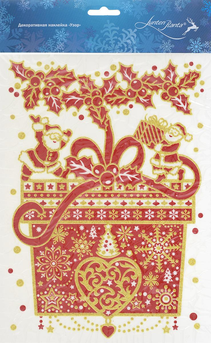 Новогоднее оконное украшение Lunten Ranta Узор, 20 х 29,5 см 65909_1531-401Новогоднее оконное украшение Lunten Ranta Узор поможет украсить дом к предстоящим праздникам. Наклейка изготовлена из ПВХ в виде подарка с лентой, который нанесен на прозрачную клейкую пленку. Рисунок декорирован золотистыми блестками. С помощью этого украшения вы сможете оживить интерьер по своему вкусу: наклеить его на окно, на зеркало или на дверь.Новогодние украшения всегда несут в себе волшебство и красоту праздника. Создайте в своем доме атмосферу тепла, веселья и радости, украшая его всей семьей.