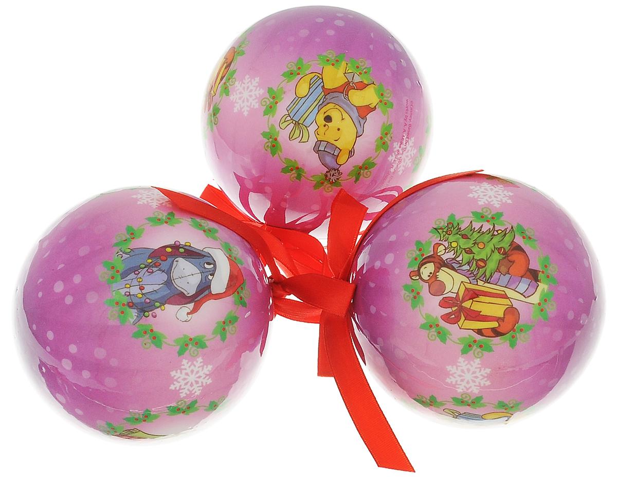 """Набор новогодних подвесных украшений Disney """"Винни и его друзья"""", цвет: фуксия, диаметр 7,5 см, 3 шт 66353_1"""