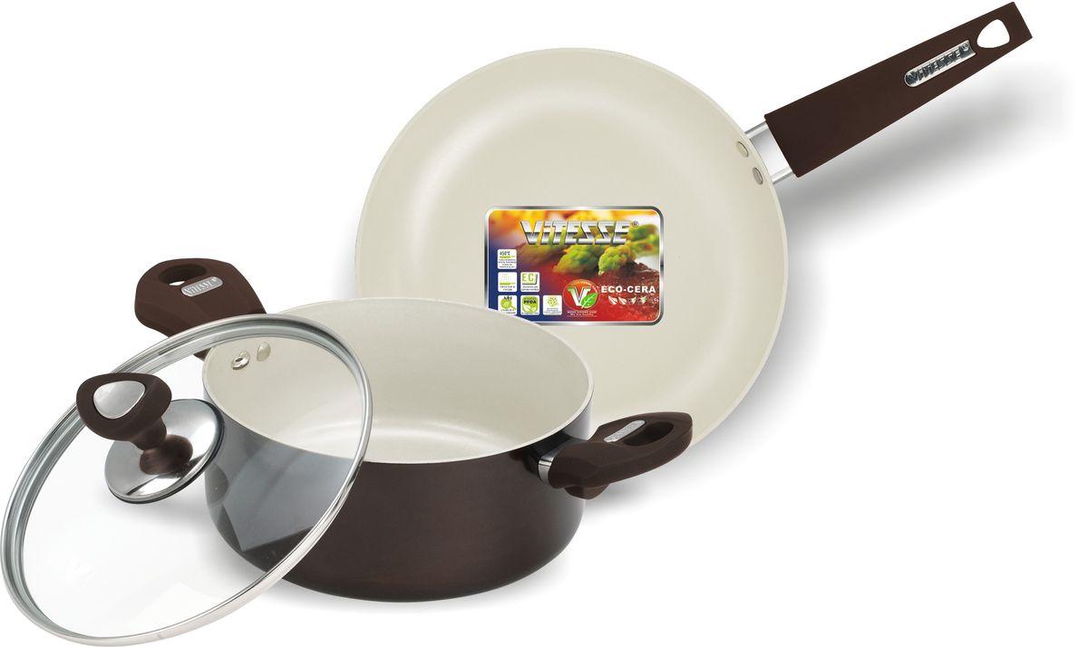 Набор посуды Vitesse, с антипригарным покрытием, цвет: коричневый, 3 предмета. VS-2219VS-2219Набор посуды Vitesse Athena состоит из кастрюли с крышкой и сковороды. Изделия выполнены из высококачественного алюминия. Внешнее термостойкое покрытие коричневого цвета, подвергшееся высокотемпературной обработке, обеспечивает легкую чистку. Внутреннее керамическое покрытие Eco-Cera абсолютно безопасно для здоровья человека и окружающей среды, так как не содержит вредной примеси PFOA и имеет низкое содержание CO в выбросах при производстве. Керамическое покрытие обладает устойчивостью к царапинам и механическим повреждениям. Прочность покрытия позволяет готовить при температуре до 450°С и использовать металлические лопатки. Кроме того, с таким покрытием пища не пригорает и не прилипает к стенкам. Готовить можно с минимальным количеством подсолнечного масла. Посуда быстро разогревается, распределяя тепло по всей поверхности, что позволяет готовить в энергосберегающем режиме, значительно сокращая время, проведенное у плиты. Посуда...