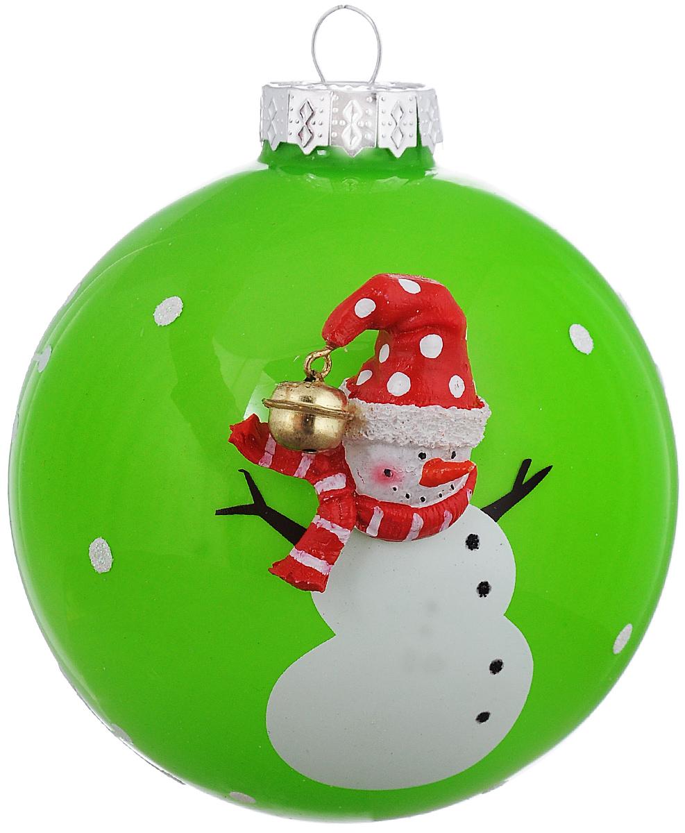 """Новогоднее подвесное украшение It's a Happy Day """"Шар. Снеговичок в шарфике"""", цвет: зеленый, белый, красный, диаметр 10 см 66527"""