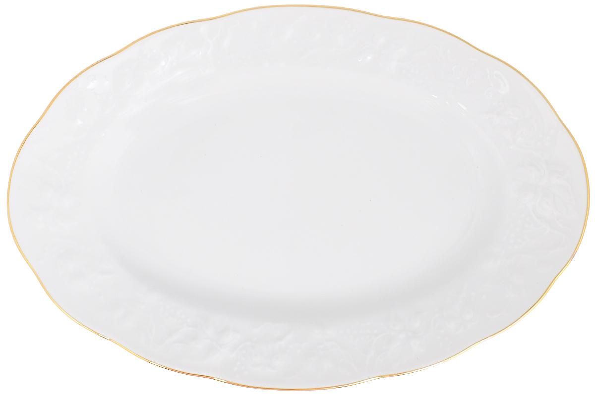 Блюдо La Rose Des Sables Vendanges, цвет: белый, золотистый, 35,5 см х 24 см6 912 361 009Овальное блюдо La Rose Des Sables Vendanges, выполненное из высококачественного фарфора, декорировано рельефным изображением цветов. Блюдо сочетает в себе изысканный дизайн с максимальной функциональностью. Блюдо La Rose Des Sables Vendanges идеально подойдет для сервировки стола и станет отличным подарком к любому празднику. Размер блюда (по верхнему краю): 35,5 см х 24 см Высота блюда: 3,5 см.