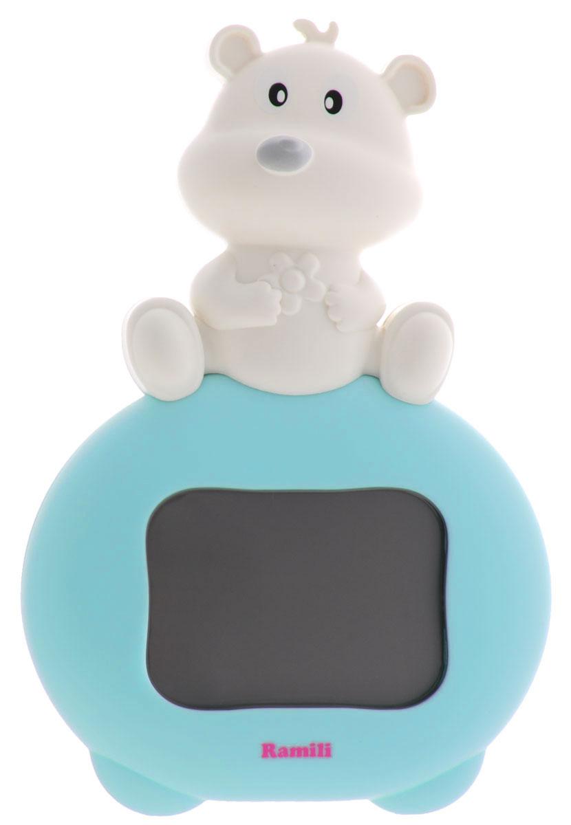 Ramili Термогигрометр для детской комнаты Baby ET1003ET1003Термогигрометр для детской комнаты Ramili Baby ET1003 предназначен для измерения температуры и относительной влажности воздуха в детской комнате. Данные отображаются на LCD-дисплее в виде цифровых значений в сопровождении забавной анимации. Особенности термогигрометра: На экране отображаются значения температуры и относительной влажности в детской комнате. 3 типа анимированных изображений на экране характеризуют уровень комфорта в помещении (с точки зрения температуры и относительной влажности воздуха): комфортно, допустимо, не комфортно. Устанавливается на горизонтальной поверхности или крепится на стене. Привлекательный для ребенка дизайн - мишка. Диапазоны температуры и влажности: Температура. Комфортно: 18°C - 26°C. Жарко: 26°C или выше. Холодно: 18°C или ниже. Влажность. Комфортно: 40% - 60%. Высокая влажность: 60% или выше. Низкая влажность: 40% или ниже. Анимационное представление...