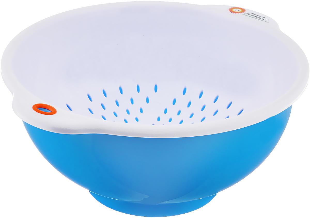 Дуршлаг Oriental Way, с миской, цвет: белый, синий, диаметр 25 см корзинка плетеная oriental way мульти круглая диаметр 18 см