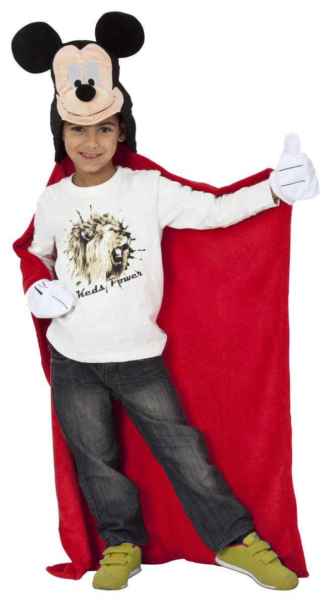 Disney Плед с капюшоном Микки Маус 100 см х 100 см15484Детский плед с капюшоном - удивительная и многофункциональная вещь, от приобретения которой выиграют все. Родители - потому что получают для своих любимых чад тёплое и мягкое покрывало. Дети - потому что мягкий плед может использоваться как накидка или пончо, а это отличная возможность преобразиться из мальчика или девочки в любимого героя. Данная текстильная продукция занимает высокие позиции на потребительском рынке благодаря своим оригинальным дизайнам и безопасным материалам.