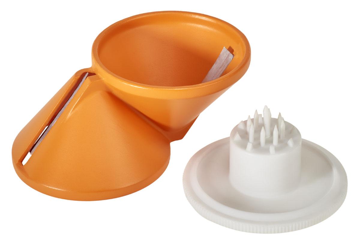 Нарезатель овощей Metaltex 2в1CM000001326Двух сторонний нарезатель овощей Metaltex можете нарезать соломкой морковку, редис, огурец и все виды других твердых овощей. Подходит для изготовления розочек из однородных продуктов по принципу заточки карандаша. Также отлично подходит для гарниров, обшивки и украшения, предлагающий блюда. Изготовлен из высококачественного пластика и нержавеющей стали. Легко чистится под струей воды.