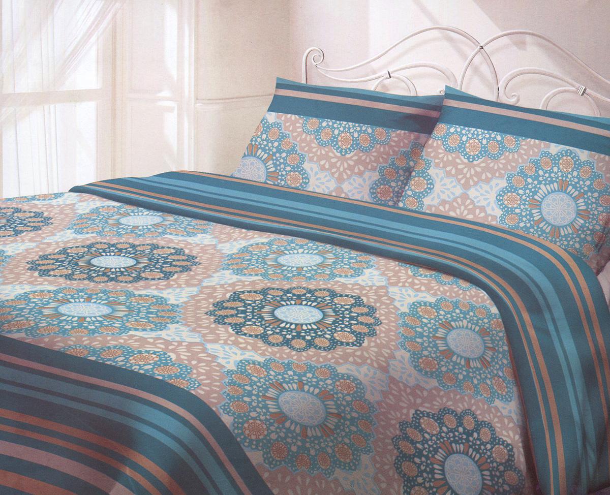 """Комплект белья Гармония """"Восток-Запад"""", 2-спальный, наволочки 50х70, цвет: бирюзовый, бежевый"""