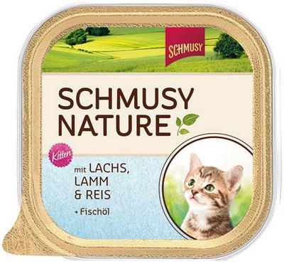 Консервы для котят Шмуси лосось с ягненком, 100 г70039Шмуси натура - это полноценная еда для кошек и котов с множеством натуральных ингредиентов. Корм Шмуси богат содержанием отборного мяса, потому что кошки - это настоящие хищники и нуждаются в пище, богатой белками. В этих ванночках маленькие кусочки мяса смешаны с паштетом. Кроме отборного мяса в корм добавлен лососёвый жир, богатый жирными кислотами Омега-3, которые необходимы для правильного развития здорового котёнка. Также добавлен таурин для правильного развития скелета и нервной системы кошек. Состав: Отборное мясо, ягнёнок, лосось, лёгкие, печень, мясные субпродукты, рис, лососёвый жир, минеральные вещества. Условия хранения: комнатная температура в закрытом виде, после вскрытия до 2 дней в холодильнике. Особенности: Натуральные компоненты; Без сои, красителей, ароматизаторов, костной муки; Без консервантов Состав: Мясо;Ягнёнок;Лосось