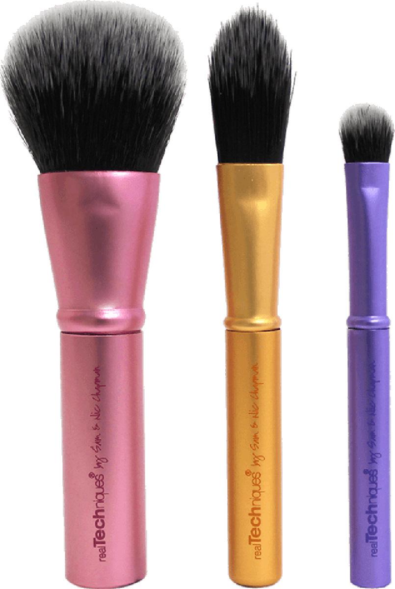 Real Techniques Mini Brush Trio Мини набор кистейRT1416Real Techniques Mini brush trio - Дорожный мини-набор кистей Mini Brush Trio – набор мини-кистей для макияжа. Идеален для повседневного использования. Поможет создать красивый макияж и дома и в поездке. В набор входят: Mini face brush - мини-кисть для лица (румяна, бронзер, пудра). Общая длина - 9,8 см, ворс - 2,5 см. Mini foundation brush - мини-кисть для основы. Общая длина - 8,8 см, ворс - 2,3 см. Mini shading brush - мини-кисть для теней. Общая длина - 7 см, ворс - 1 см. Мини упаковка для хранение кистей. Материал: искусственный ворс - таклон ручной набивки и стрижки (не вызывают аллергии, гигиеничен, легко моется, быстро сохнет). Металлическая ручка для удобного использования.