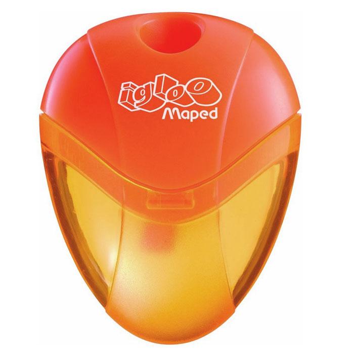 Maped Точилка Igloo цвет оранжевый634754Точилка Igloo выполнена из ударопрочного пластика. Полупрозрачный контейнер для сбора стружки позволяет визуально контролировать уровень заполнения и вовремя производить очистку. Характеристики: Размер: 5,5 см x 4 см x 1,5 см. Материал: пластик, металл. Изготовитель: Китай.