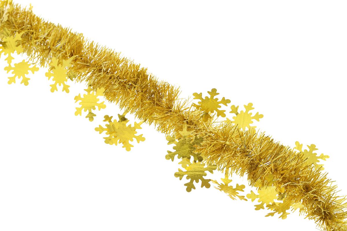 Мишура новогодняя Sima-land, цвет: золотистый, диаметр 5 см, длина 200 см. 702632702632_золотистыйНовогодняя мишура Sima-land, выполненная из фольги с дизайном в виде снежинок, поможет вам украсить свой дом к предстоящим праздникам. А новогодняя елка с таким украшением станет еще наряднее. Мишура армирована, то есть имеет проволоку внутри и способна сохранять приданную ей форму. Новогодней мишурой можно украсить все, что угодно - елку, квартиру, дачу, офис - как внутри, так и снаружи. Можно сложить новогодние поздравления, буквы и цифры, мишурой можно украсить и дополнить гирлянды, можно выделить дверные колонны, оплести дверные проемы. Коллекция декоративных украшений из серии Зимнее волшебство принесет в ваш дом ни с чем несравнимое ощущение праздника! Создайте в своем доме атмосферу тепла, веселья и радости, украшая его всей семьей.