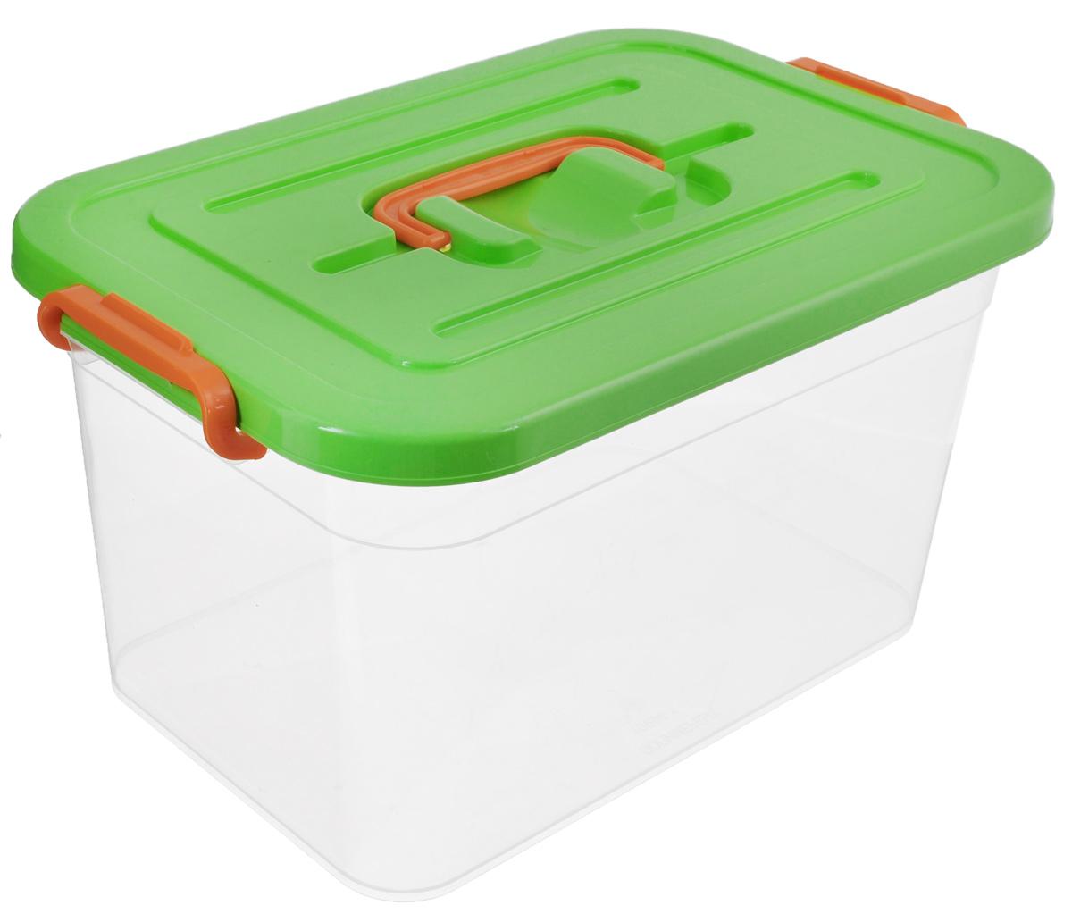 Контейнер для хранения Полимербыт, цвет: прозрачный, салатовый, 10 л10503Контейнер для хранения Полимербыт выполнен из высококачественного полипропилена. Изделие снабжено удобной ручкой и двумя фиксаторами по бокам, придающими дополнительную надежность закрывания крышки. Вместительный контейнер позволит сохранить различные нужные вещи в порядке, а герметичная крышка предотвратит случайное открывание, а также защитит содержимое от пыли и грязи.
