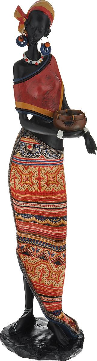 Декоративная фигурка Феникс-презент Африканка с горшочком, высота 37,5 см37915Декоративная фигурка Феникс-презент Африканка с горшочком, изготовленная из полирезина, достойно украсит интерьер вашего дома или офиса. Она выполнена в виде африканской девушки в национальной одежде с горшком в руках. Вы можете поставить украшение в любом месте, где оно будет удачно смотреться и радовать глаз. Кроме того, это отличный вариант подарка для ваших близких и друзей. Высота: 37,5 см.