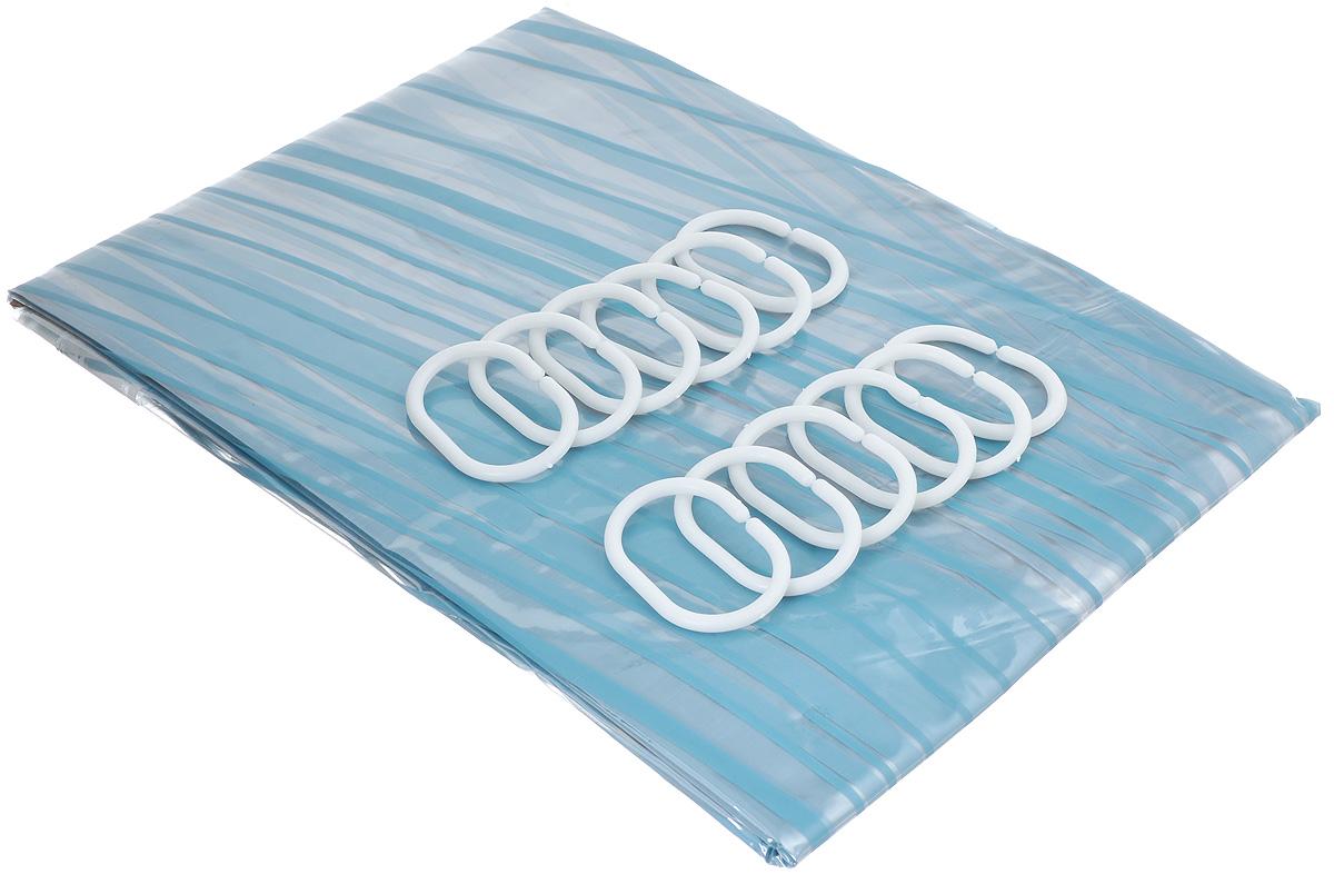 Штора для ванной комнаты Home Queen, цвет: голубой, 180 х 180 см 57371106-029Штора Home Queen, изготовленная из водонепроницаемого винила, идеально защищает ванную комнату от брызг. В верхней кромке шторы предусмотрены отверстия для пластиковых колец (входят в комплект).Яркий дизайн шторы украсит интерьер ванной комнаты. Количество колец: 12 шт.