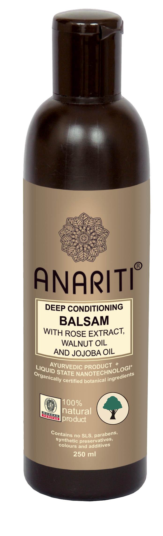 Anariti бальзам глубоко кондиционирующий с экстрактом розы, маслом грецкого ореха и маслом жожоба, 250 млБ33041_шампунь-барбарис и липа, скраб -черная смородинаРекомендуется для ухода за сухими и очень сухими волосами. Бальзам интенсивно увлажняет волосы, придает им объем, эластичность и жизненную силу. Экстракт розы успокаивает и тонизирует кожу головы. Масло грецкого ореха и жожоба питает, восстанавливает и защищает гидролипидную оболочку клеток кожи и волос. Благодаря высокому содержанию витаминов С и Е бальзам оказывает выраженный антиоксидантный эффект.