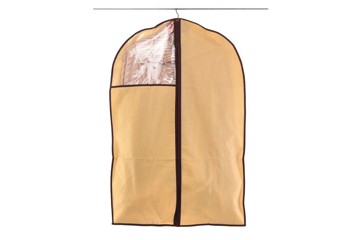 Чехол для одежды El Casa Соты, подвесной, цвет: бежевый, 60 x 90 см370092Подвесной чехол для одежды El Casa Соты изготовлен из высококачественного нетканого материала, который обеспечивает естественную вентиляцию, позволяя воздуху проникать внутрь, но не пропускает пыль. Чехол очень удобен в использовании, а благодаря его форме, одежда не мнется даже при длительном хранении. Специальная прозрачная вставка позволяет видеть содержимое внутри чехла, не открывая его. Изделие легко открывается и закрывается застежкой-молнией. Чехол для одежды будет очень полезен при транспортировке вещей на близкие и дальние расстояния, при длительном хранении сезонной одежды, а также при ежедневном хранении вещей из деликатных тканей.