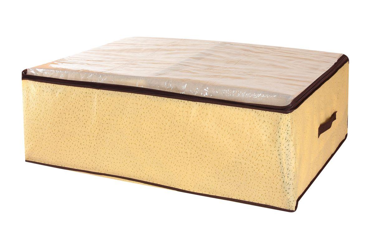Кофр для хранения одеял и пледов El Casa Звезды, цвет: бежевый, 80 x 60 x 25 см370183Вместительный кофр El Casa Звезды, изготовленный из дышащего нетканого волокна, предназначен для хранения одеял, пледов и домашнего текстиля. Кофр снабжен прозрачной крышкой из ПВХ, что позволяет легко просматривать содержимое. Специальный нетканый материал позволяет воздуху проникать внутрь, при этом надежно защищая вещи от грязи, пыли и насекомых. Закрывается на застежку-молнию. Оригинальный дизайн сделает вашу гардеробную красивой и невероятно стильной. Размер кофра (в собранном виде): 80 см х 60 см х 25 см.
