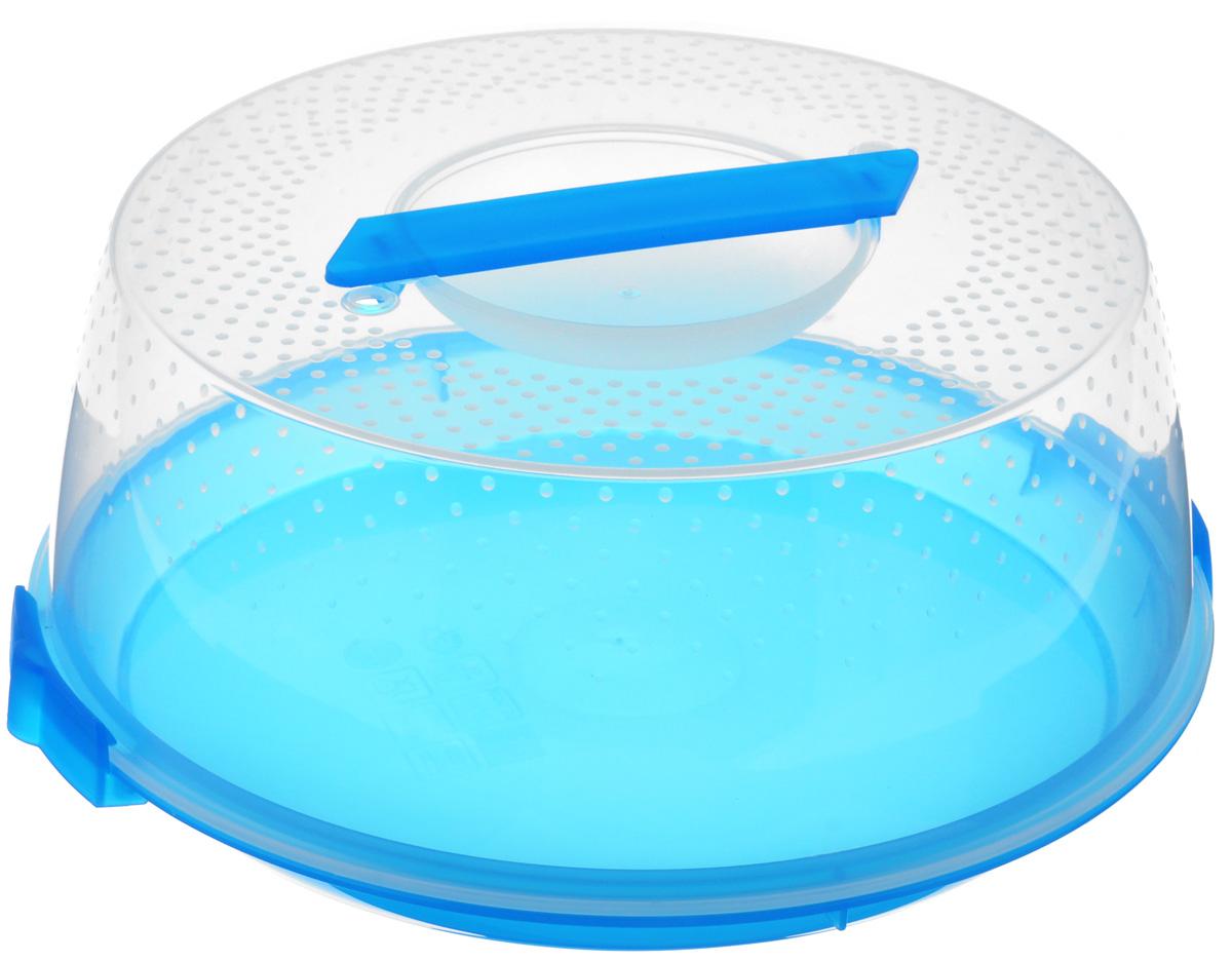 Тортница Cosmoplast Оазис, цвет: синий, прозрачный, диаметр 28 см2127_синийТортница Cosmoplast Оазис изготовлена из высококачественного прочного пищевого пластика. Тортница имеет удобную ручку для переноски и прочные фиксаторы крышки. Может использоваться в микроволновой печи и морозильной камере (выдерживает температуру от -30°С до +115°С). Очень гигиенична и легко моется. Можно мыть в посудомоечной машине. Диаметр тортницы: 28 см. Внутренний диаметр тортницы: 26 см. Высота тортницы: 12 см.