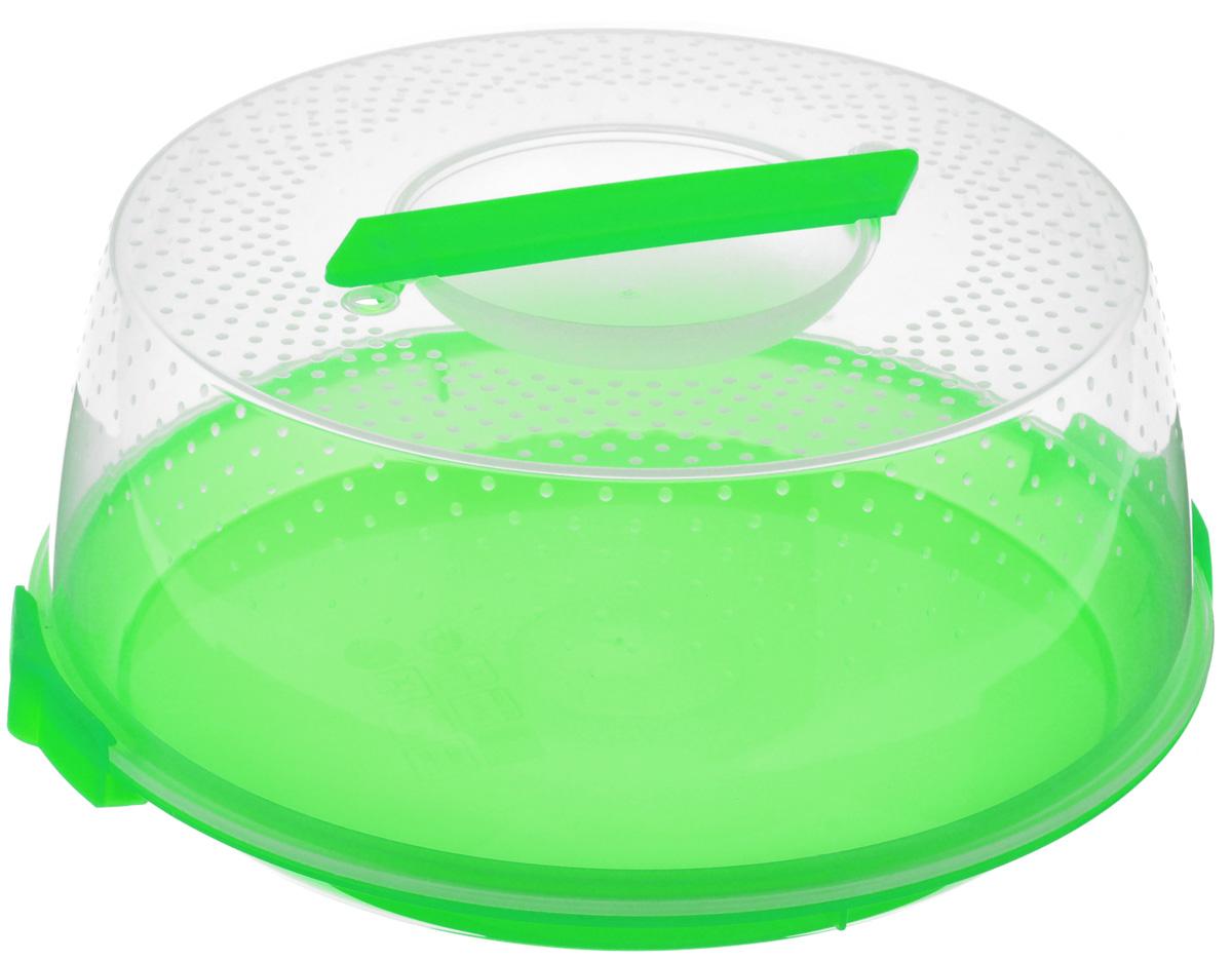 Тортница Cosmoplast Оазис, цвет: салатовый, прозрачный, диаметр 28 см2127_салатовыйТортница Cosmoplast Оазис изготовлена из высококачественного прочного пищевого пластика. Тортница имеет удобную ручку для переноски и прочные фиксаторы крышки. Может использоваться в микроволновой печи и морозильной камере (выдерживает температуру от -30°С до +115°С). Очень гигиенична и легко моется. Можно мыть в посудомоечной машине. Диаметр тортницы: 28 см. Внутренний диаметр тортницы: 26 см. Высота тортницы: 12 см.