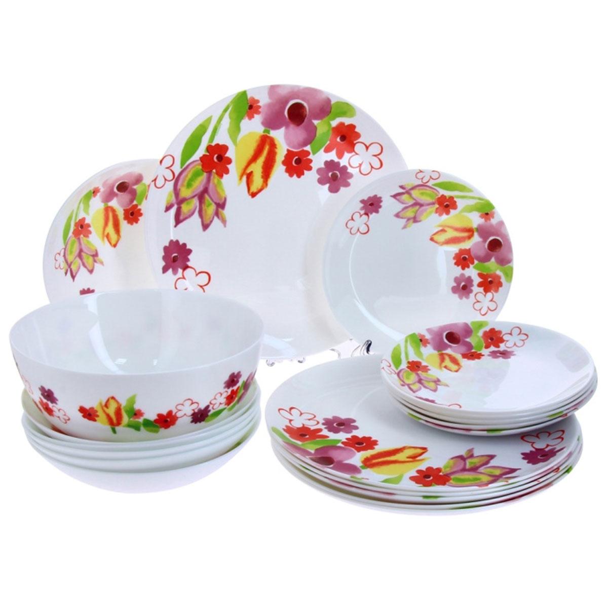 Набор столовой посуды Luminarc Dacha, 19 предметовH8735Набор Luminarc Dacha состоит из 6 суповых тарелок, 6 обеденных тарелок, 6 десертных тарелок и глубокого салатника. Изделия выполнены из ударопрочного стекла, имеют яркий дизайн с изящным цветочным рисунком и классическую круглую форму. Посуда отличается прочностью, гигиеничностью и долгим сроком службы, она устойчива к появлению царапин и резким перепадам температур. Такой набор прекрасно подойдет как для повседневного использования, так и для праздников или особенных случаев. Набор столовой посуды Luminarc Dacha - это не только яркий и полезный подарок для родных и близких, а также великолепное дизайнерское решение для вашей кухни или столовой. Можно мыть в посудомоечной машине и использовать в микроволновой печи. Диаметр суповой тарелки: 20 см. Высота суповой тарелки: 4.5 см. Диаметр обеденной тарелки: 27 см. Высота обеденной тарелки: 2 см. Диаметр десертной тарелки: 19 см. Высота десертной...