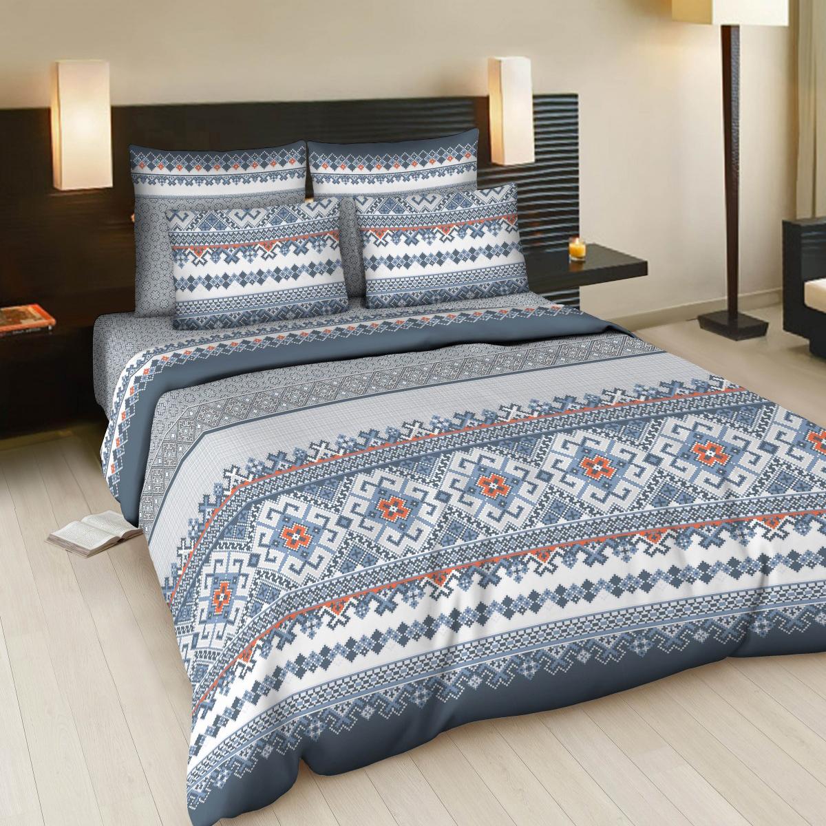 Комплект белья Letto Народные узоры, 2-спальный, наволочки 70х70, цвет: синий, белый комплект белья letto дуэт семейный наволочки 70х70 цвет голубой b33 7