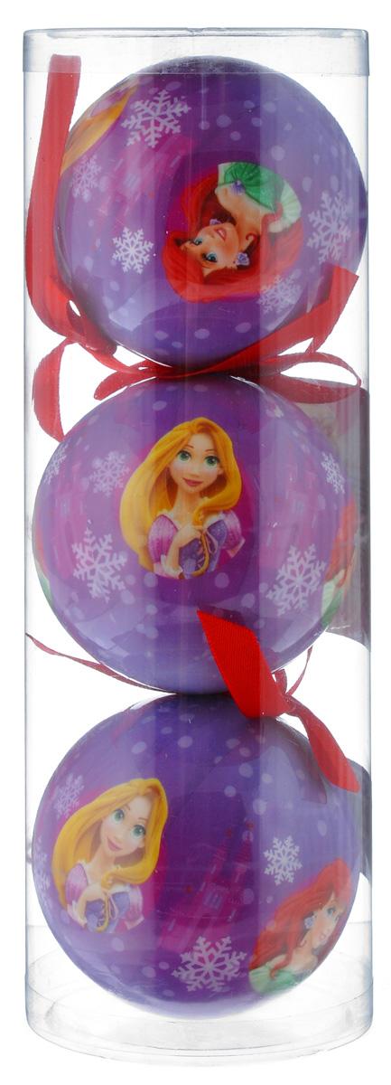 """Набор новогодних подвесных украшений Disney """"Принцессы"""", цвет: фиолетовый, диаметр 7,5 см, 3 шт 66352_1"""