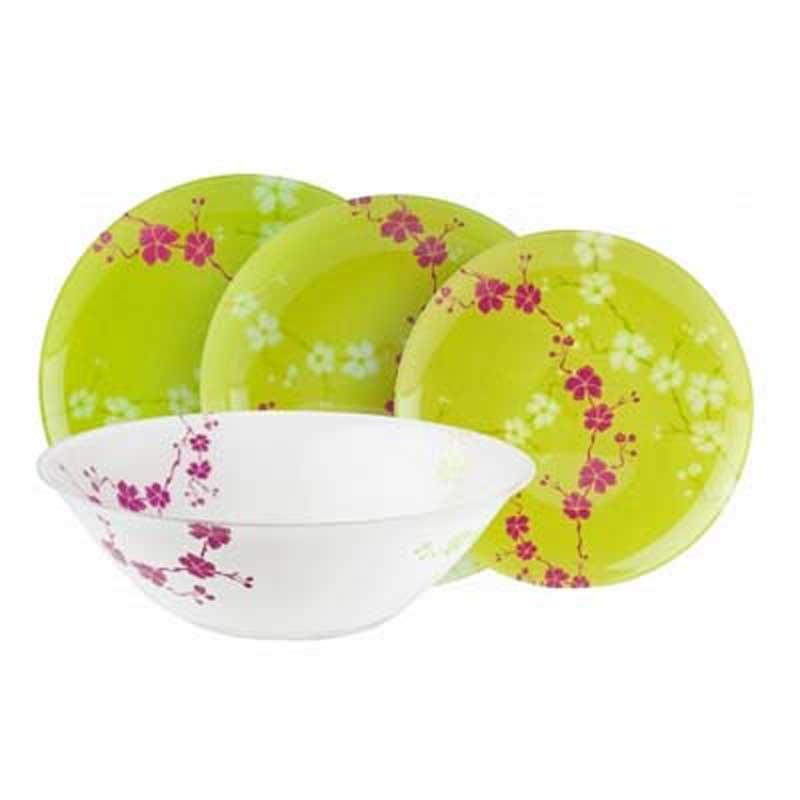 Набор столовой посуды Luminarc Kashima, 19 предметовG9953Набор Luminarc Kashima состоит из 6 суповых тарелок, 6 обеденных тарелок, 6 десертных тарелок и глубокого салатника. Изделия выполнены из ударопрочного стекла, имеют яркий дизайн с изящным цветочным рисунком в японском стиле и классическую круглую форму. Посуда отличается прочностью, гигиеничностью и долгим сроком службы, она устойчива к появлению царапин и резким перепадам температур. Такой набор прекрасно подойдет как для повседневного использования, так и для праздников или особенных случаев. Набор столовой посуды Luminarc Kashima - это не только яркий и полезный подарок для родных и близких, а также великолепное дизайнерское решение для вашей кухни или столовой. Можно мыть в посудомоечной машине и использовать в микроволновой печи. Диаметр суповой тарелки: 20,5 см. Высота суповой тарелки: 3,2 см. Диаметр обеденной тарелки: 25 см. Высота обеденной тарелки: 2 см. Диаметр десертной тарелки: 20 см. ...