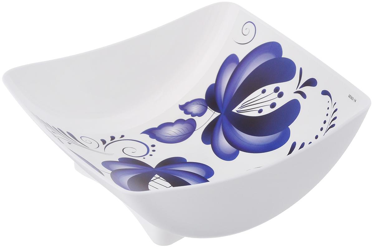 Салатник Idea Деко, цвет: гжель, 450 млМ 1332Салатник Idea Деко изготовлен из высококачественного полипропилена и идеально подходит для сервировки стола. Такой салатник не только украсит ваш кухонный стол и подчеркнет прекрасный вкус хозяйки, но и станет отличным подарком. Можно мыть в посудомоечной машине. Размер салатника: 14,5 см х 14,5 см х 5 см. Объем салатника: 450 мл.