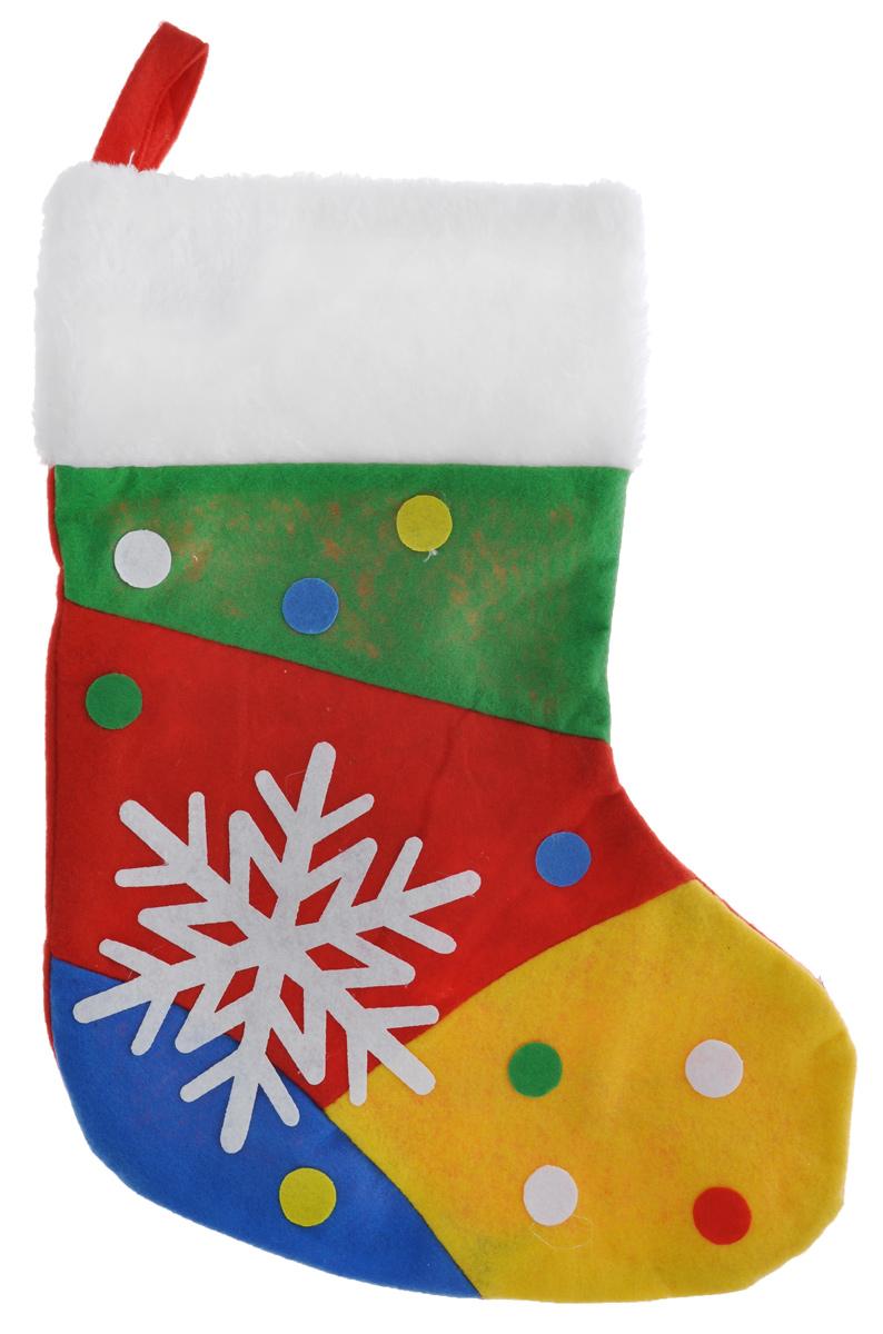 Новогодний носок для подарков EuroHouse Фантазер, цвет: красный, зеленый, желтый, синийЕХ 7464Новогодний носок EuroHouse Фантазер, выполненный из фетра, декорирован аппликацией снежинки и разноцветных кружков. Этот праздничный аксессуар предназначен специально для новогодних и рождественских подарков. С помощью петельки его можно подвесить в любое понравившееся место. Традиция класть подарки в новогодние чулки (в Европе эти же чулки называются рождественскими) появилась в нашей стране относительно недавно, но уже пользуется популярностью. Чулки, как и другие новогодние украшения, создают в доме атмосферу тепла и уюта, сближая всю семью. Особенно эта традиция приводит в восторг детей. Да и взрослому будет не менее интересно получить подарок в такой оригинальной упаковке.