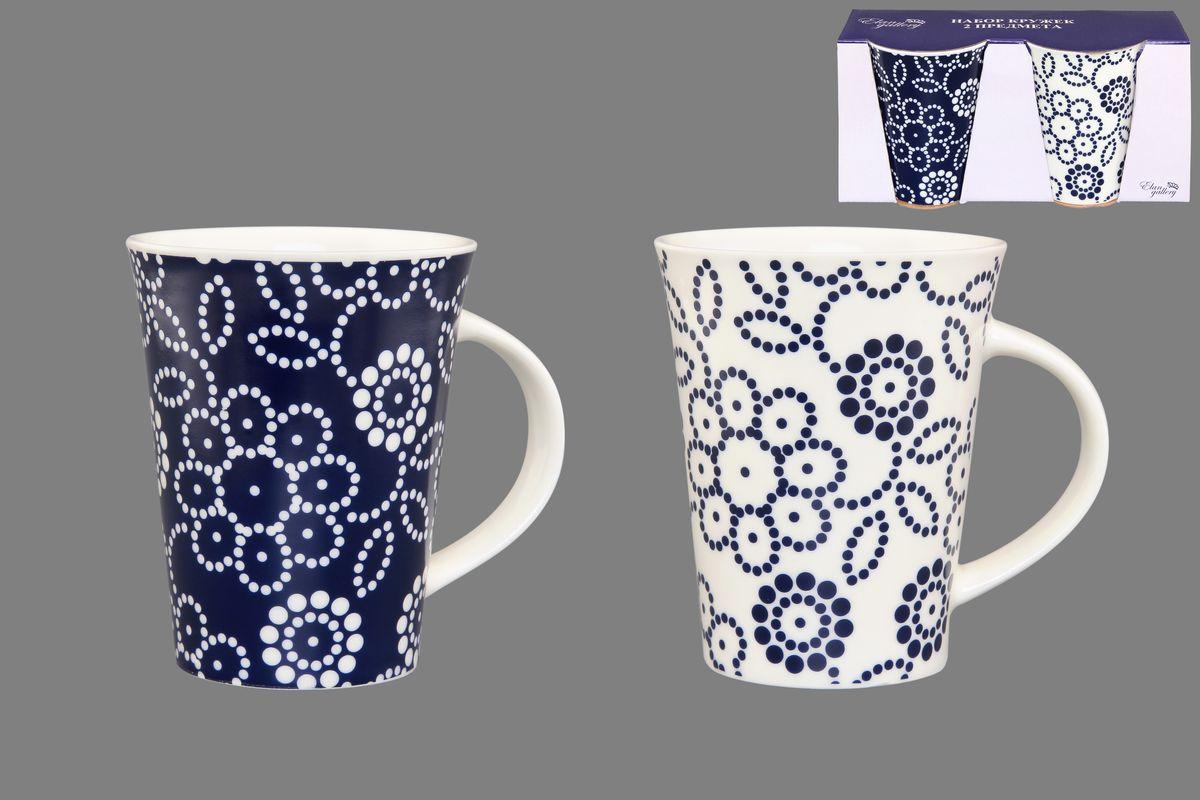 Набор кружек Elan Gallery Цветы, цвет: белый, синий, 320 мл, 2 шт кружки elan gallery набор кружек цветы белые капучино