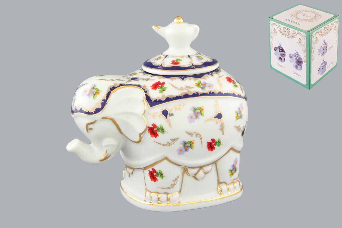 Чайница Elan Gallery Слон. Цветочек, 350 мл503846Чайница Elan Gallery Слон. Цветочек, изготовленная из высококачественной керамики, идеально подойдет для хранения вашего любимого сорта чая. Изделие выполненное в виде слона, оформлено оригинальным цветочным узорам и изображениям бабочек. Крышка декорирована оригинальной ручкой в виде чайника. Специальная силиконовая вставка на крышке не даст потерять чаю свой аромат. Такая чайница украсит интерьер вашей кухни и подчеркнет прекрасный вкус хозяина, а также станет отличным подарком к любому празднику. Размер чайницы (с учетом крышки): 12 см х 8 см х 11 см. Диаметр горлышка: 4 см.