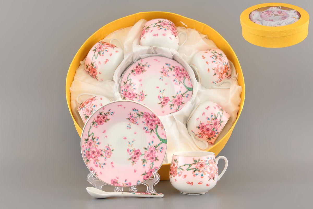 Кофейный набор Сакура 130 мл. 12 предметов с ложками в подарочной упаковке . 730439730439Кофейный сервиз на 6 персон включает 6 чашек объемом 130 мл, 6 блюдец, 6 ложек и станет достойным подарком для любителей кофе. Соберите всю коллекцию предметов сервировки Сакура и Ваши гости будут в восторге! Изделие имеет подарочную упаковку.