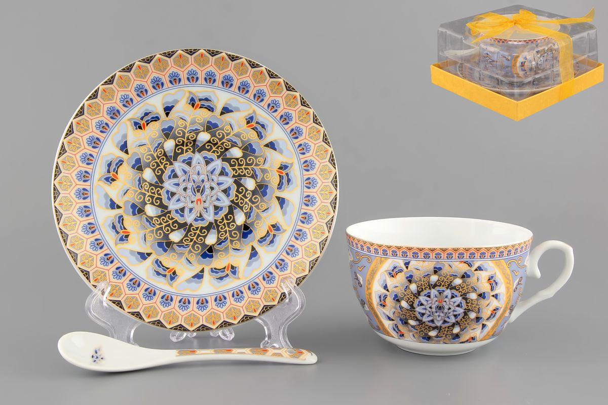 Чайная пара Elan Gallery Калейдоскоп, 250 мл, 3 предмета730483Чайная пара Elan Gallery Калейдоскоп состоит из чашки, блюдца и ложечки, изготовленных из высококачественной керамики. Предметы набора оформлены изящным узором. Чайная пара Elan Gallery Калейдоскоп украсит ваш кухонный стол, а также станет замечательным подарком друзьям и близким. Изделие упаковано в подарочную коробку с атласной лентой. Объем чашки: 250 мл. Диаметр чашки по верхнему краю: 9,5 см. Высота чашки: 6 см. Диаметр блюдца: 14 см. Длина ложки: 13 см.