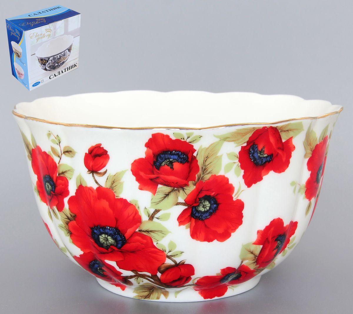 Салатник Elan Gallery Маки, 850 мл740121Великолепный салатник с волнистым краем Elan Gallery Маки, изготовленный из высококачественной керамики, прекрасно подойдет для подачи различных блюд: закусок, салатов или фруктов. Такой салатник украсит ваш праздничный или обеденный стол, а оригинальное исполнение понравится любой хозяйке. Диаметр салатника (по верхнему краю): 16 см. Высота салатника: 10 см. Объем салатника: 850 мл.
