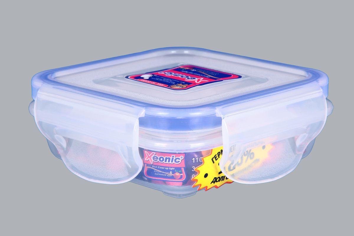 Контейнер Xeonic, цвет: прозрачный, синий, 110 мл810039Пластиковые герметичные контейнеры для хранения продуктов Xeonic произведены из высококачественных материалов, имеют 100% герметичность, термоустойчивы, могут быть использованы в микроволновой печи и в морозильной камере, устойчивы к воздействию масел и жиров, не впитывают запах. Удобны в использовании, долговечны, легко открываются и закрываются, не занимают много места, можно мыть в посудомоечной машине. Размер: 7,5 см х 7,5 см х 2,5 см.