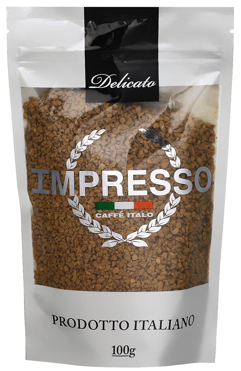 Impresso Delicato кофе растворимый, 100 г4607141337222Impresso Delicato - настоящий итальянский кофе, который восхищает полнотой вкуса и быстротой приготовления. В купаж кофе вошли сорта арабики из Бразилии и Ямайки с деликатным насыщенным вкусом.