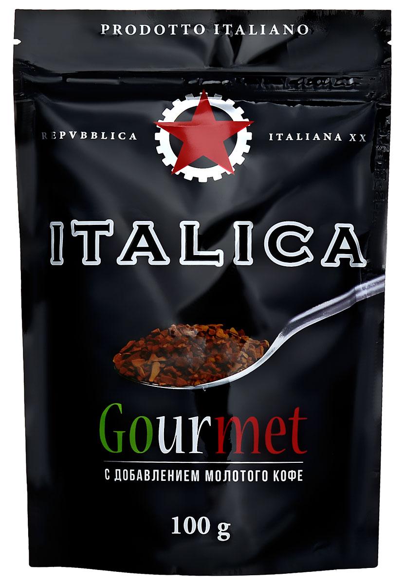 Italica Gourmet кофе растворимый, 100 г101246Italica Gourmet - натуральный растворимый кофе с добавлением жареного молотого кофе. Напиток создан по технологии Hi-Lite Antioxidant Advantage, позволяющей сохранить все полезные свойства зелёного кофе. В его состав входит натуральный растворимый кофе и 20% жареного молотого кофе. Italica Gourmet - это исключительный вкус, восхитительный аромат и высокое содержание натуральных антиоксидантов.