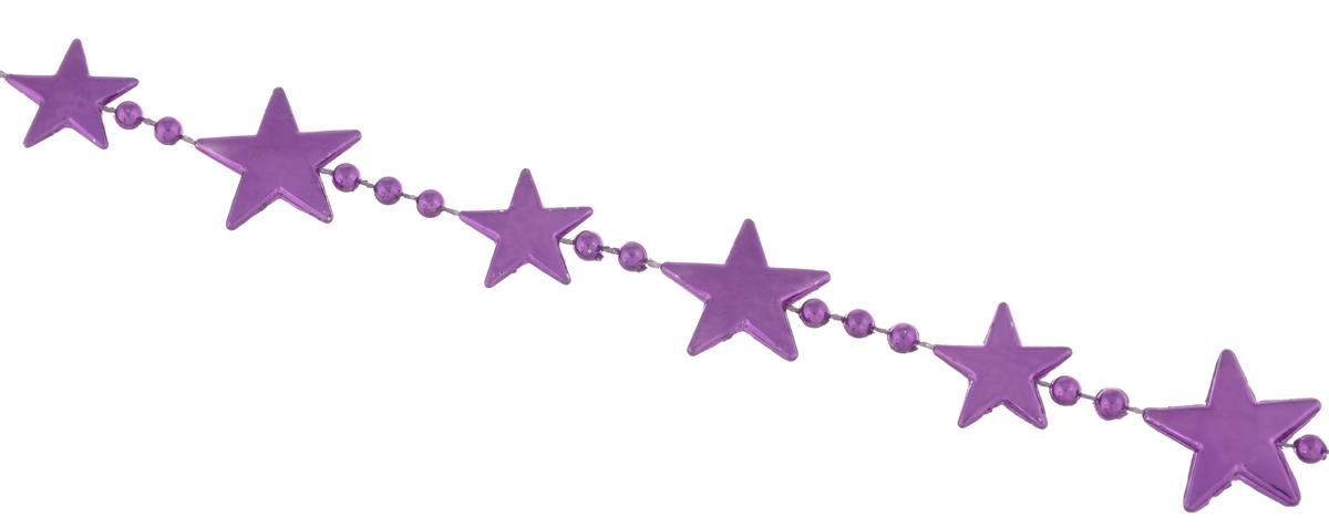 Гирлянда новогодняя EuroHouse Звезды, цвет: фиолетовый, длина 2 мЕХ 9193Новогодняя гирлянда EuroHouse Бусы. Звезды отлично подойдет для декорации вашего дома и новогодней ели. Изделие, выполненное из пластика, представляет собой гирлянду, на текстильной нити, на которой нанизаны фигурки в виде звезд и бусин. Новогодние украшения несут в себе волшебство и красоту праздника. Они помогут вам украсить дом к предстоящим праздникам и оживить интерьер по вашему вкусу. Создайте в доме атмосферу тепла, веселья и радости, украшая его всей семьей. Размер фигурки в виде звезды: 2 см х 2 см х 0,2 см. Диаметр бусины: 0,4 см.