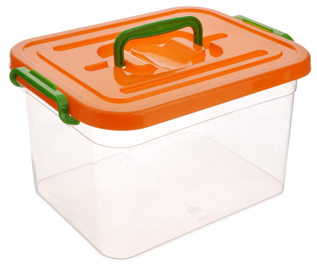 Контейнер для хранения Полимербыт, цвет: оранжевый, прозрачный, 6,5 лС809_оранжевый, прозрачныйКонтейнер для хранения Полимербыт, выполненный из высококачественного пищевого пластика, снабжен удобной ручкой и двумя пластиковыми фиксаторами по бокам, придающими дополнительную надежность закрывания крышки. Вместительный контейнер позволит сохранить вещи в порядке, а герметичная крышка предотвратит случайное открывание, а также защитит содержимое от пыли и грязи.