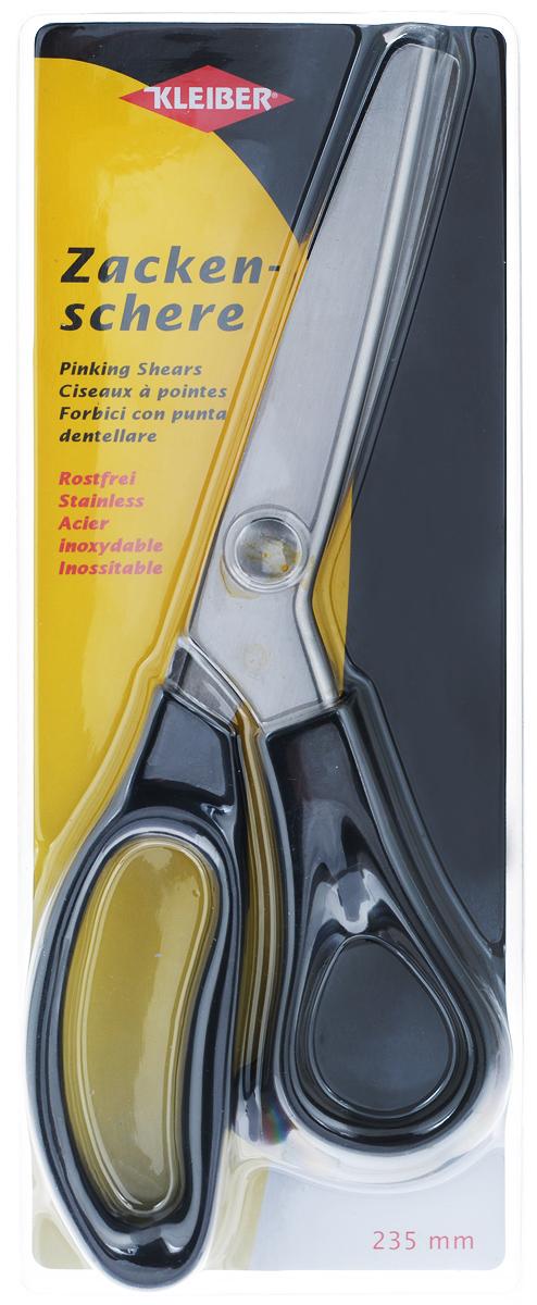 Ножницы Kleiber Зигзаг, длина 23,5 см920-42Ножницы Kleiber Зигзаг изготовлены из закаленной нержавеющей стали с удобными ручками и лезвиями для формирования отреза зигзагом. Они легко режут ткань, не заминая ее, и образуя аккуратный зубчатый край. Используются для обработки кромки изделий из ткани и других материалов, не склонных к обсыпанию. Обработка такими ножницами позволяет обойтись без обметывания краев. Длина ножниц: 23,5 см. Длина лезвий: 8 см.