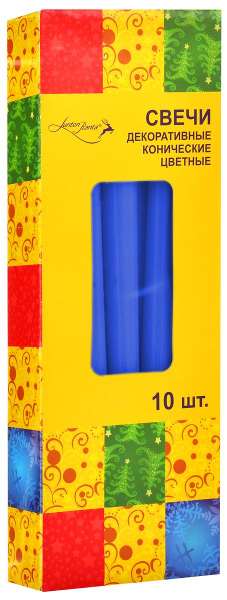 Набор декоративных свечей Lunten Ranta, цвет: синий, высота 25 см, 10 шт54288_4Набор Lunten Ranta состоит из 10 декоративных свечей конической формы, изготовленных из парафина. Такой набор украсит интерьер вашего дома или офиса и наполнит его атмосферу теплом и уютом. Диаметр основания свечи: 2 см.