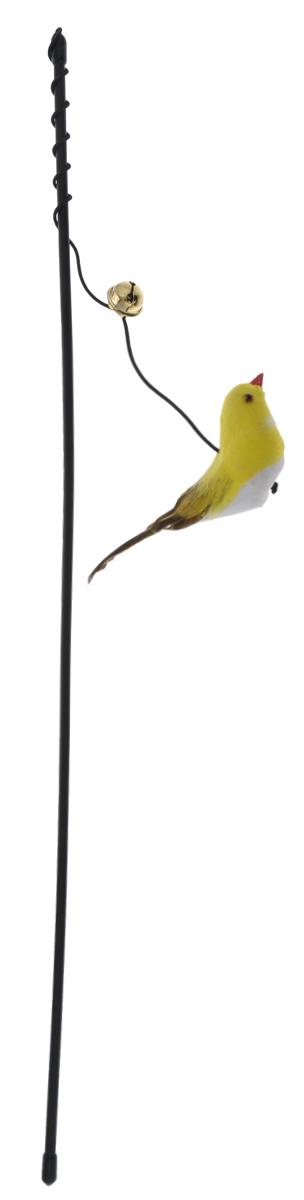 Дразнилка-удочка для кошек V.I.Pet Птица, с колокольчиком, цвет: черный, желтый30-0959_черный/желтыйДразнилка-удочка для кошек V.I.Pet Птица, изготовленная из текстиля и пластика, прекрасно подойдет для веселых игр вашего пушистого любимца. Играя с этой забавной дразнилкой, маленькие котята развиваются физически, а взрослые кошки и коты поддерживают свой мышечный тонус. Яркая игрушка и звонкий колокольчик на конце удочки сразу привлечет внимание вашего любимца, не навредит здоровью, и увлечет его на долгое время. Длина удочки: 46 см. Размер игрушки: 11,5 см х 4 см х 3 см.