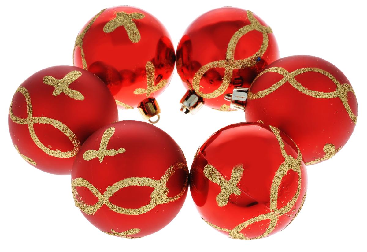 Набор новогодних подвесных украшений Феникс-презент Цепь, цвет: красный, золотистый, диаметр 6 см, 6 штA6483LM-6WHНабор подвесных украшений Феникс-презент Цепь прекрасно подойдет для праздничного декора новогодней ели. Набор состоит из 6 пластиковых украшений в виде глянцевых шаров, оформленных блестками. Для удобного размещения на елке для каждого украшения предусмотрена петелька, выполненная из текстиля.Елочная игрушка - символ Нового года. Она несет в себе волшебство и красоту праздника. Создайте в своем доме атмосферу веселья и радости, украшая новогоднюю елку нарядными игрушками, которые будут из года в год накапливать теплоту воспоминаний. Откройте для себя удивительный мир сказок и грез. Почувствуйте волшебные минуты ожидания праздника, создайте новогоднее настроение вашим дорогим и близким.