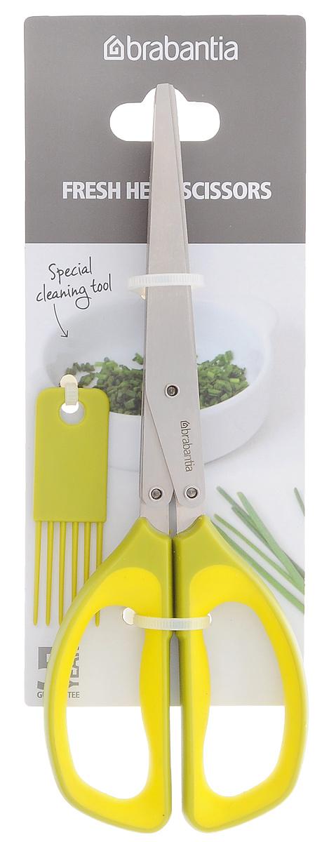 Ножницы для зелени Brabantia, цвет: оливковый, желтый106620Ножницы для зелени Brabantia станут незаменимым кухонным аксессуаром. Ножницы имеют сразу 5 лезвий из нержавеющей стали, что позволяет нарезать зелень быстро и мелко. Удобные рукоятки выполнены из пластика с прорезиненной поверхностью. Изделие оснащено специальной щеткой для лезвий. Такой функциональный аксессуар понравится любой хозяйке. Можно мыть в посудомоечной машине.